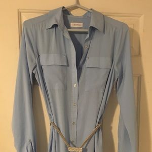 Baby blue belted dress.
